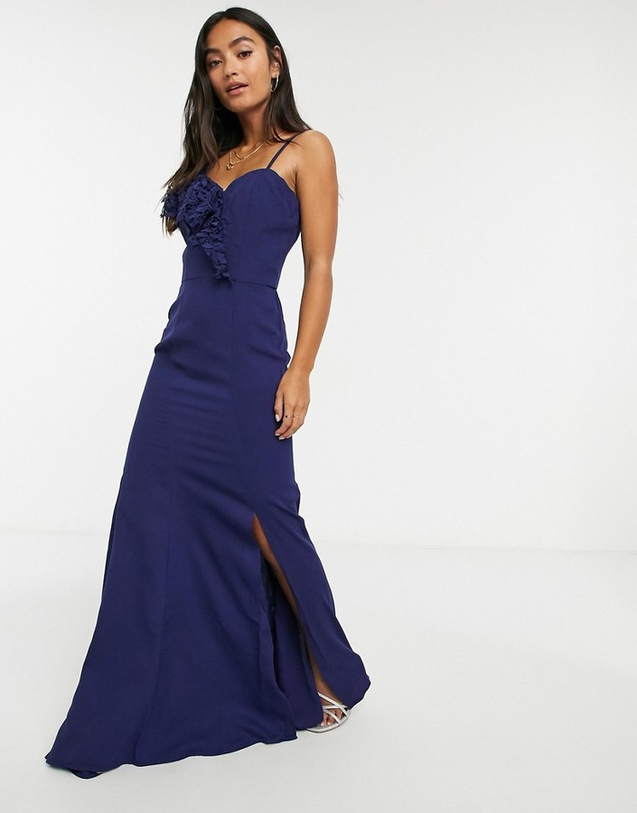 Chi Chi London ruffle one shoulder maxi dress in navy