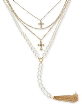 "Thalia Sodi Gold-Tone Pave Cross, Imitation Pearl & Chain Tassel Layered Lariat Necklace, 16"" + 3"" extender, Created for Macy's"