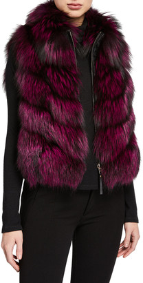 Gorski Nylon & Fox Fur Reversible Chevron Vest