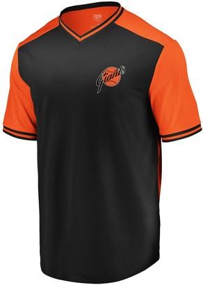 Majestic Men's Black/Orange San Francisco Giants Good Graces Cooperstown Collection V-Neck T-Shirt