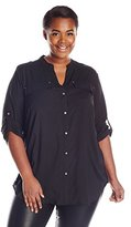 Calvin Klein Women's Plus-Size Modern Essential Crew-Neck Roll Sleeve Top