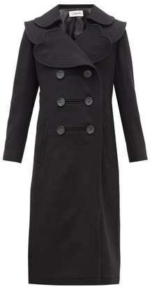 Lanvin Heart Lapel Double Breasted Wool Twill Coat - Womens - Black
