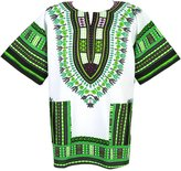 Decoraapparel Dashiki Shirt African Men Tribal Hippie Blouse White Lime Purple