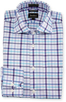 Neiman Marcus Trim-Fit Non-Iron Plaid Dress Shirt, Purple