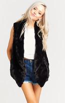 MUMU Fausta Fur Vest ~ Black Jag Faux Fur