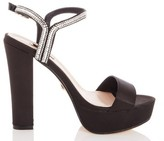 Dorothy Perkins Womens Quiz Black Satin Heeled Sandals, Black