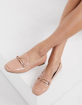 Miss Selfridge loafers with knot buckle detail in light pink