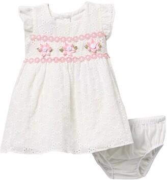 Iris & Ivy Flutter Sleeve Embroidered Eyelet Dress & Bloomers Set