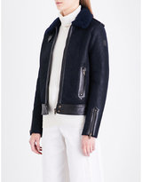Belstaff Ladies Black Buckled Exposed Zip Danford Shearling Jacket
