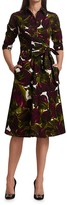 Thumbnail for your product : Samantha Sung Olivia Eggplant-Print Stretch Cotton Midi Shirtdress