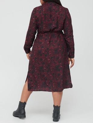 V By Very Curve Printed Shirt Dress - Multi