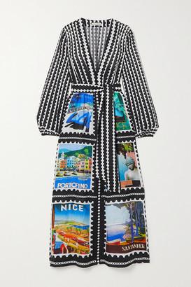Mary Katrantzou MARY-MARE - Ithaki Belted Printed Linen Maxi Dress - Black