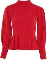 Topshop Long Sleeve Tuck Waist Top