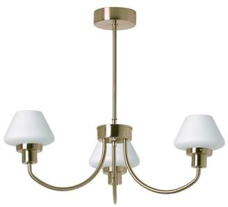 TP24 Kiev 3 Arm Pendant Light Fitting in Antique Brass Finish with White Glass