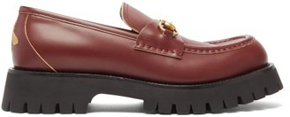 Gucci Cordovan Chunky-sole Leather Loafers - Burgundy