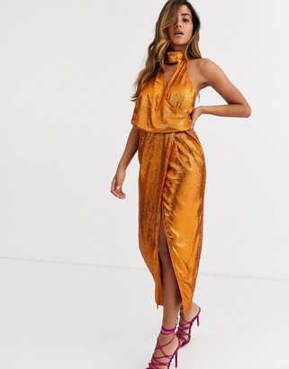 ASOS DESIGN scarf neck drape midi dress on all over sequin