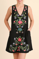Umgee USA Black Floral Embroidered Dress