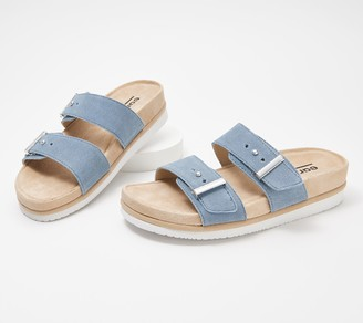 Earth Leather Slide Sandals - Canyon Ruby