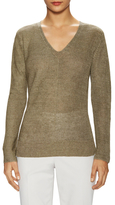 Lafayette 148 New York Mixed Ribbed V-Neck Sweater