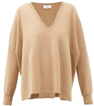 Allude V-neck Oversized Cashmere Sweater - Beige