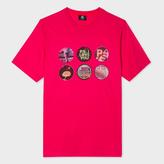 Paul Smith Men's Fuchsia 'Badges' Print T-Shirt