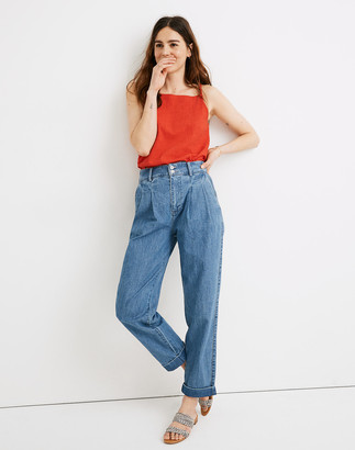 Madewell Pleated Taper Wide-Leg Jeans