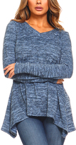Denim Handkerchief Sweater Tunic - Plus