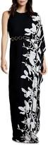 Halston Asymmetric Printed Gown