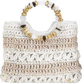 Cappelli Straworld Ring-Handle Woven Toyo Straw Tote Bag, White