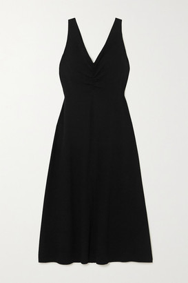 Vince Ruched Stretch-crepe Midi Dress - Black