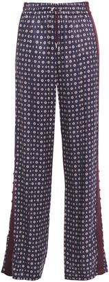 Jonathan Simkhai Satin-trimmed Printed Twill Straight-leg Pants