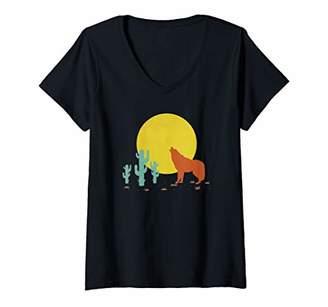 Womens Native Indian Coyote Boho 80s Vintage V-Neck T-Shirt