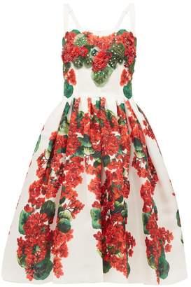 Dolce & Gabbana Geranium-print Silk-organza Dress - Womens - Red And Whte