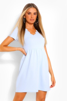 boohoo Scallop V Neck Short Sleeve Skater Dress