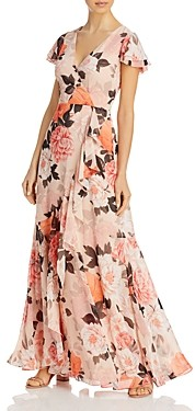Eliza J Floral Print Ruffled Dress