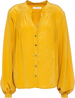 Frame Pleated Silk Crepe De Chine Blouse