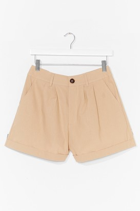 Nasty Gal Womens Linen in to Temptation High-Waisted Shorts - Stone