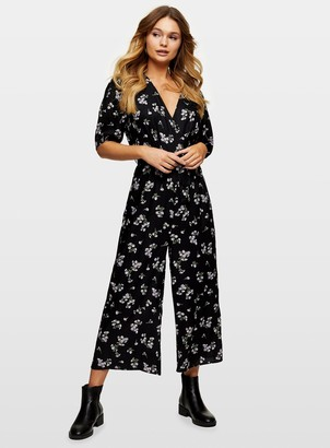 Miss Selfridge Black Ditsy Print Leah Wrap Jumpsuit