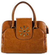 Isaac Mizrahi Brown Leather Double Strap Gold Tone Magnet Shoulder Handbag