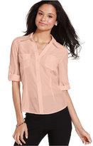Amy Byer Juniors' Roll-Tab-Sleeve Shirt