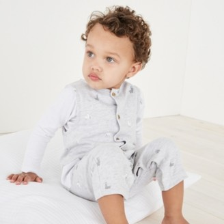 The White Company Llama Dungaree & T-shirt Set, Grey, 12-18mths