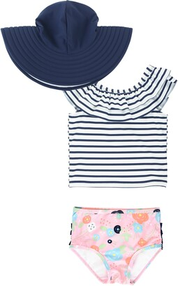RuffleButts Stripe Ruffle Two-Piece Tankini & Hat Set