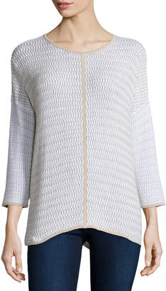 Long-Sleeve Oversized Pullover W/ Trim
