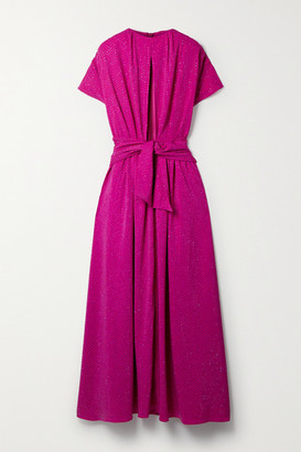 Christopher John Rogers Cutout Tie-front Crystal-embellished Stretch-crepe Gown - Magenta