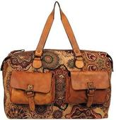 Wilsons Leather Womens Vintage Tapestry Duffel W/ Leather Front Pockets