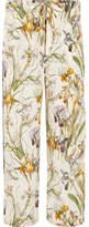 Alexander McQueen Floral-print Silk Crepe De Chine Wide-leg Pants - Ivory