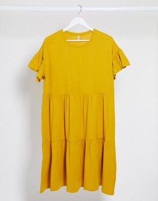 Only smock midi dress in yellow
