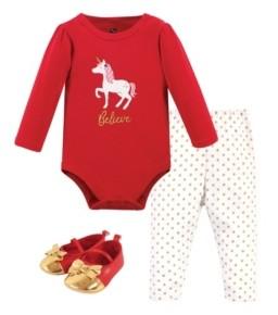 Hudson Baby Baby Girls Christmas Unicorn Bodysuit, Pant and Shoe Set, Pack of 3