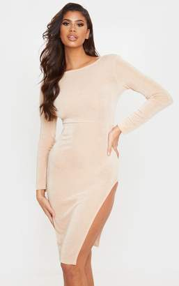 PrettyLittleThing Champagne Textured Slinky Long Sleeve Cross Back Midi Dress