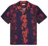 You As Miles Camp-Collar Printed Matte-Satin Shirt